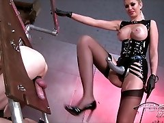 Domme teaches her slave dog