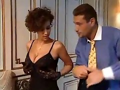 Glamorous French babe jerks a big cock!