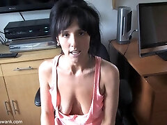 Cutie with saggy tits teases with a down blouse flash