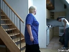 He helps platinum-blonde granny