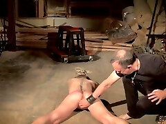 Teen in tight shorts gets punished and cums rock-hard
