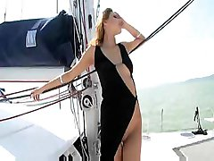 Cindy Hope gets naked on the boat and sucks and fucks his cock
