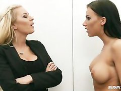 Slutty big-booty secretary & her blonde coworker fuck their boss