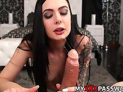 Smoking hot brunette Marley Brinx shows her sucking skills