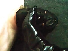 PVC Boots face kicking and smoking.