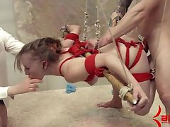 Blonde hanging bondage and rough anal fucked