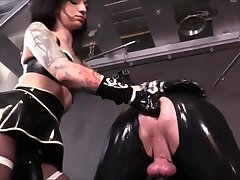 Hot mistress Latex strapon fuck slave