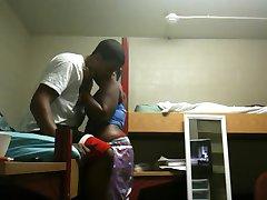Black student couple fucks in campus dorm room