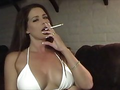 Hot Sexy Babe in Bikini Smoking and Teasing