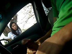 Automobilio Flash Masturbuotis Su Mergina Cumshot