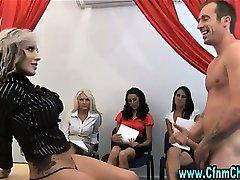 Cfnm femdom bitches fuck facial