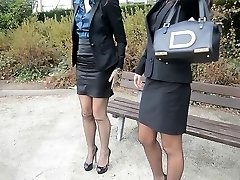 2 young handsome secretaries in vintage stockings & garterbelt