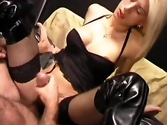 Light-haired ladyboy jerking cum onto her belly - Pandemonium