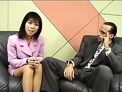 Petite Asian reporter guzzles cum for an interview