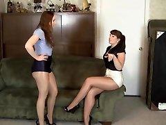 lesbian shiny pantyhose restrain bondage