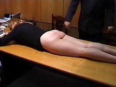 Insane Secretary is Punished with a Strapping