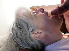 Grey haired granny deep throat and jizm in her mouth