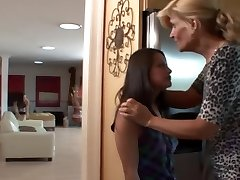 Voluptuous mature fucks adorable teen maid with daughter-in-law