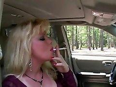 Hot Blonde Cougar Smoking & Sucking In Fishnets & Heels