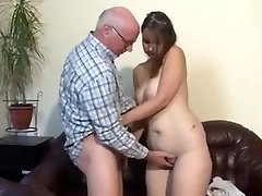 Round german girl fucked by older guy