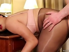 Tgirl Alina pantyhose sex with fan and cum rigid