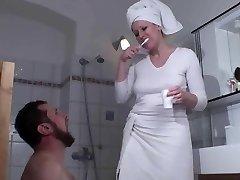 Femdom Women humiliate slaves in bath