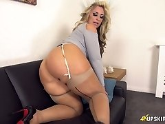Killing hot British milf Kellie OBrian shows off her white panties upskirt