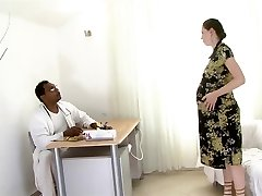 Heavily pregnant dark haired smashed by a black man