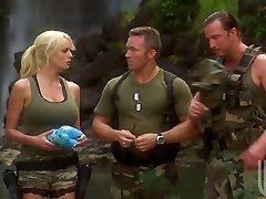 Two soldiers bang sexy milf Stormy Daniels in the tent