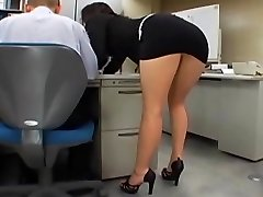 Japanese office girl gets poked by two