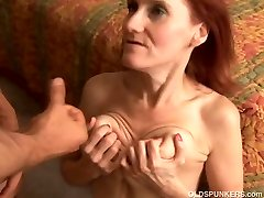 Thin mature redhead loves to fuck and the taste of cum