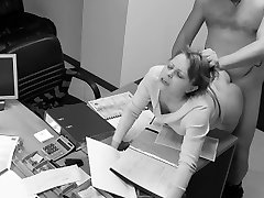 Temptation of office secretary caught on hidden security cam