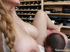 Fierce stud Jordan Ash fucks mega busty ultra-cutie Yurizan Beltran in wine cellar