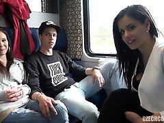 Foursome Fucky-fucky in Public TRAIN