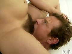 Black-haired hussy Viola Starr gets her hairy snatch licked