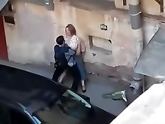 Spying a fat woman get fucked from balcony