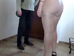 Pantyhose flashing massive ass bitch