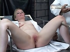 Submissive blonde gets her love button pumped by kinky master