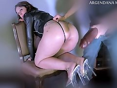 Extreme deep ass-fuck with oversized dildo