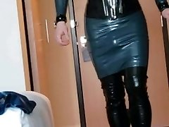 Short walk in rubber dress, thigh shoes