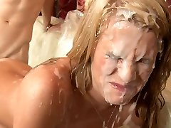 Sixsome romp and cumshot shower.