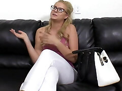 Adorable Blonde in Glasses Anal and Cum Facial