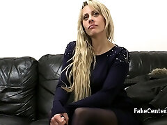 Milf swallowing cum on casting