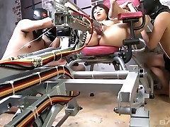 Several folks fuck naughty Japanese chick tie sup to a gyno chair