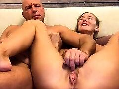 Amateur husband masturbates cooch of his wife on webcam