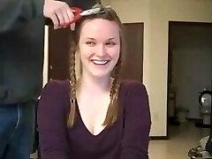 lovely girl shaves her head bald