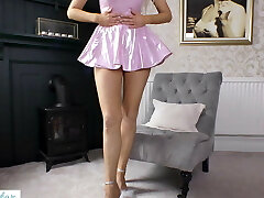 Babe in pink Pvc dress