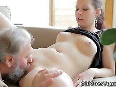 Luxurious Ilona gets her pussy pounded bad in arousing young and old fuck flick