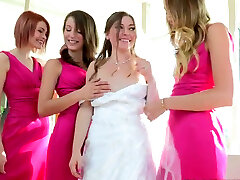 Charming bride takes part in molten foursome lesbian sex