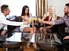 Two girls in stockings and the folks had on the same couch group sex SV